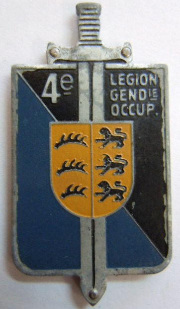 4° LGO LEGION GENDARMERIE OCCUPATION Allemagne 1945 FFA type 1