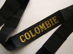 COLOMBIE avant 1939 RUBAN LEGENDE ORIGINAL CAP TALLY