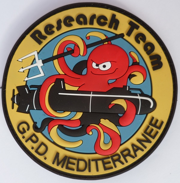 Patch PVC MARINE RESEARCH TEAM GPD MEDITERRANEE Plongeurs Démin