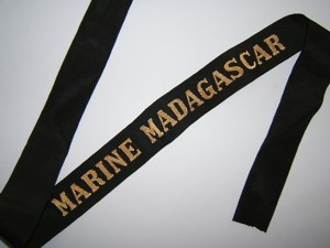 MARINE MADAGASCAR RUBAN LEGENDE POST 1945 ORIGINAL