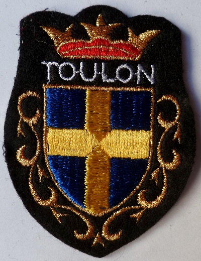 TOULON ecusson patch tissu blason ville brodé or vintage