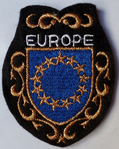 EUROPE ecusson patch tissu blason ville brodé or vintage