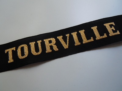 TOURVILLE Croiseur Marine WWII RUBAN LEGENDE CAP TALLY ORIGINAL